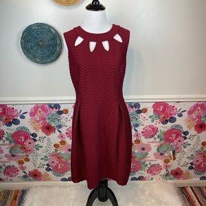Enfocus Burgundy PeekaBoo Fit & Flare Dress Size 10